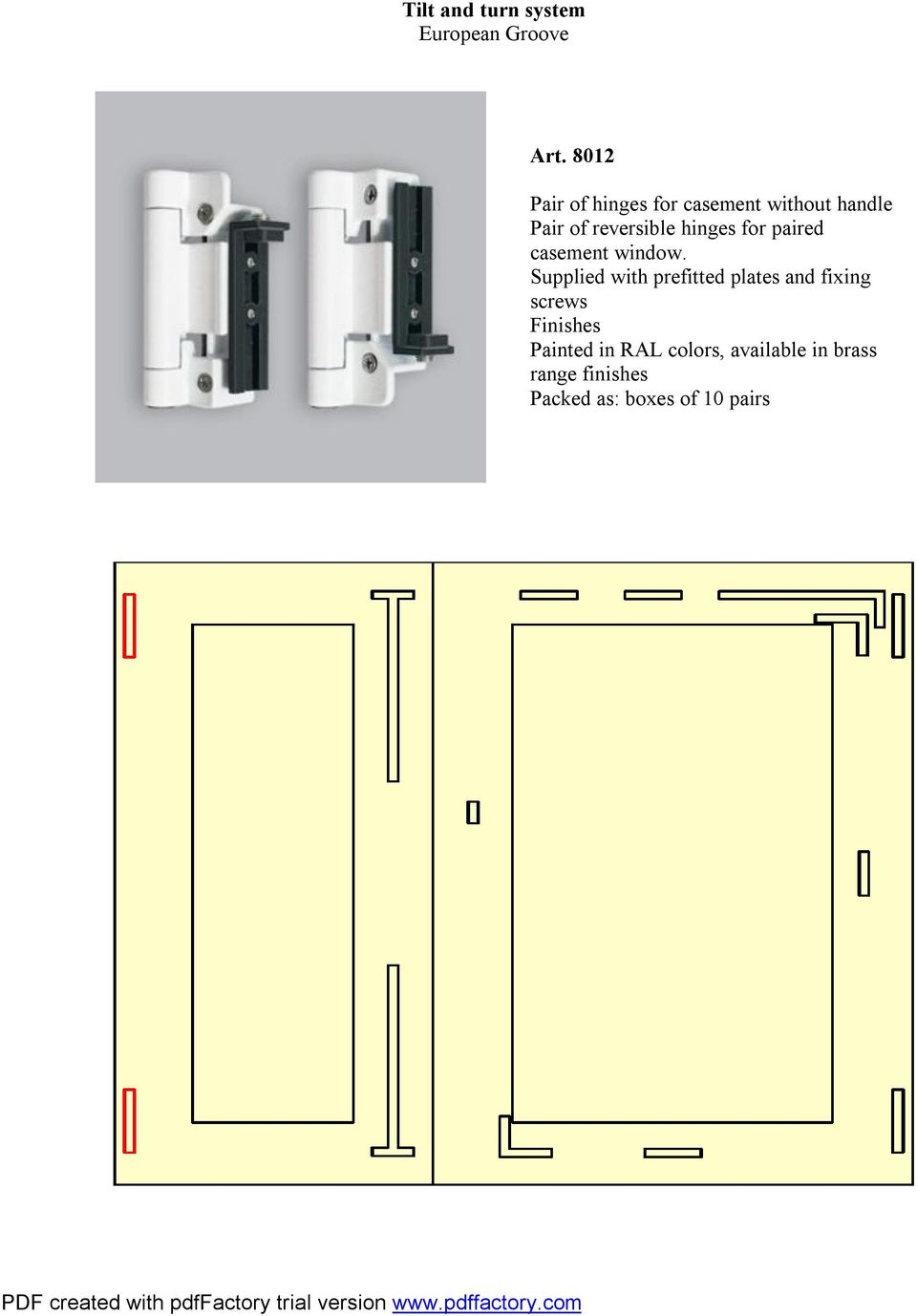 hinges for paired casement window.