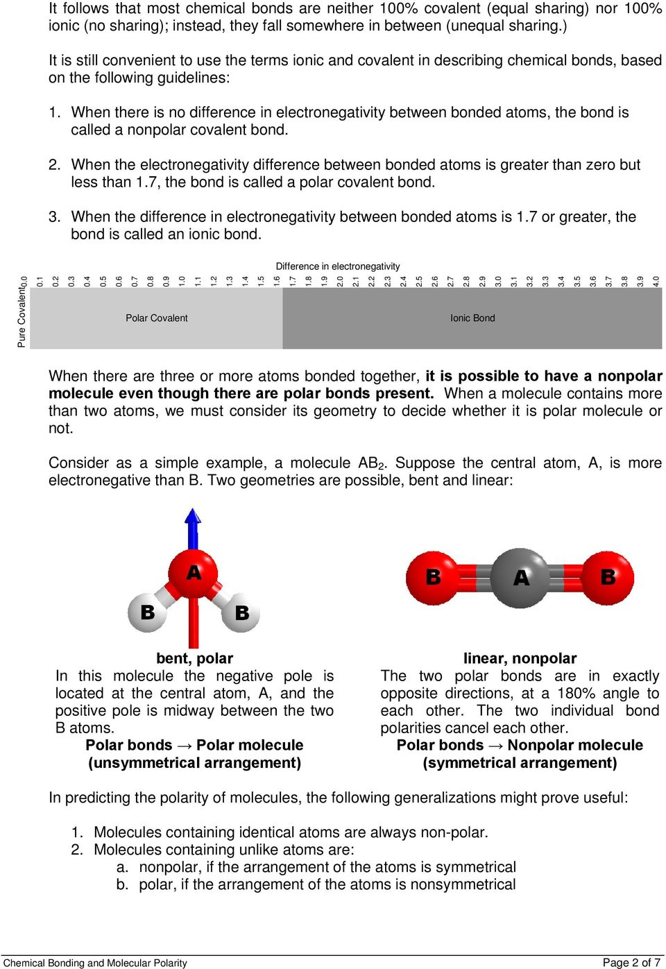 worksheet Bonding And Molecular Structure Worksheet experiment 17 chemical bonding and molecular polarity pdf when there is no difference in electronegativity between bonded atoms the bond called a