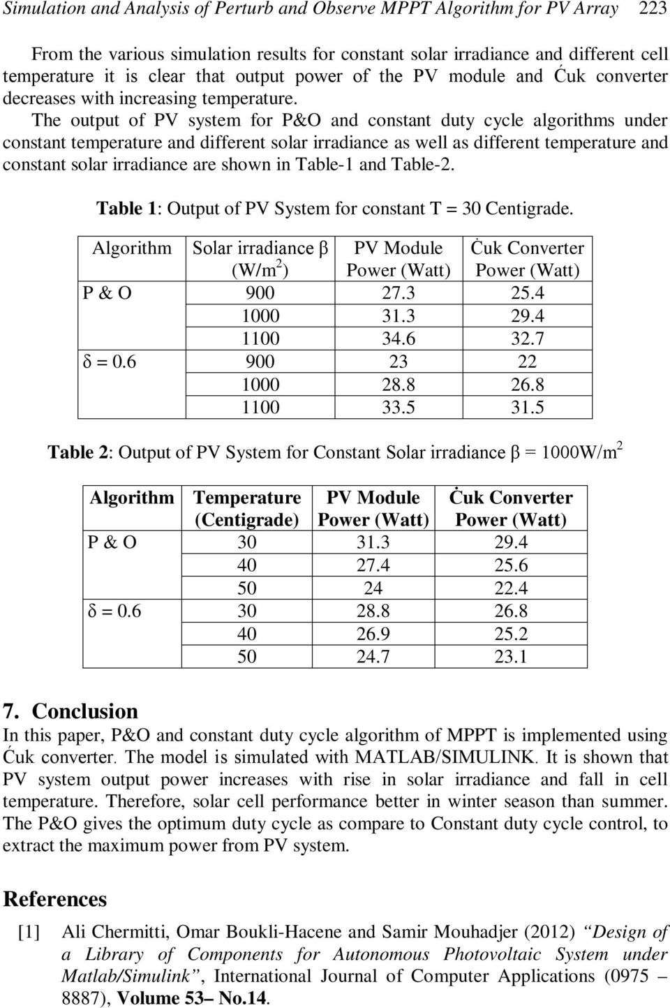 The output of PV system for P&O and constant duty cycle algorithms under constant temperature and different solar irradiance as well as different temperature and constant solar irradiance are shown