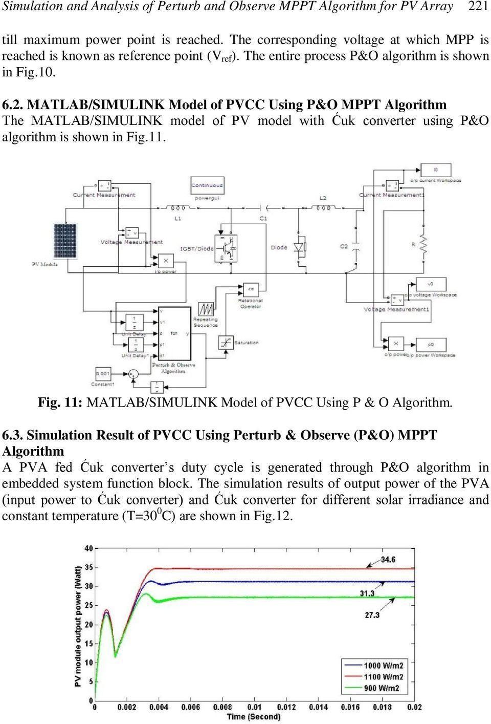 MATLAB/SIMULINK Model of PVCC Using P&O MPPT Algorithm The MATLAB/SIMULINK model of PV model with Ćuk converter using P&O algorithm is shown in Fig.