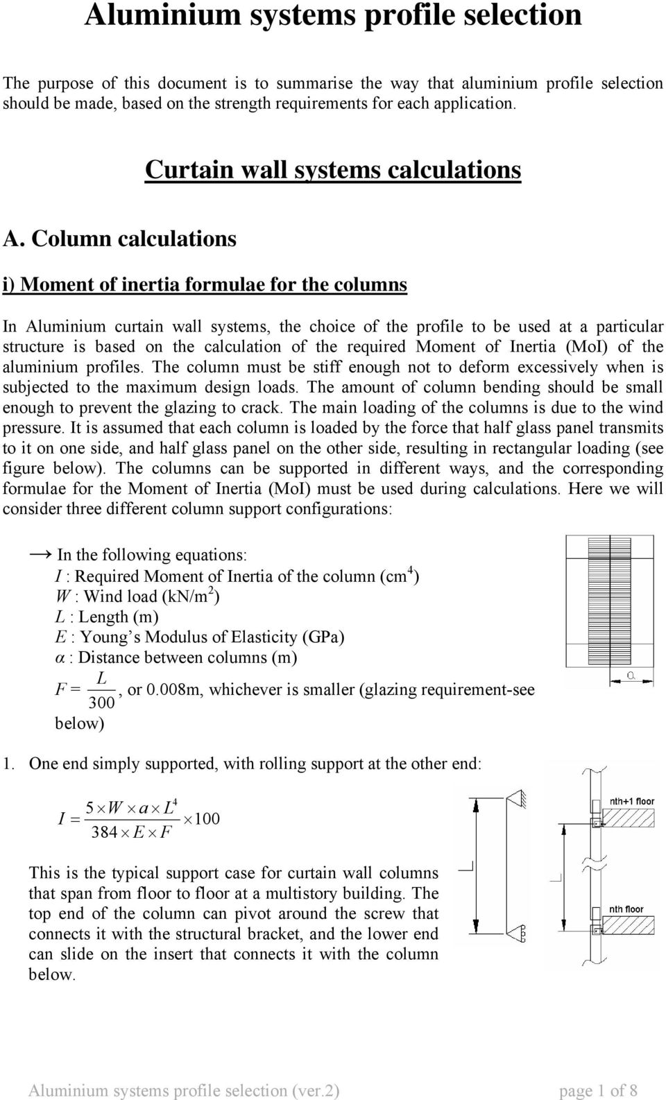 Column calculations i) Moment of inertia formulae for the columns n Aluminium curtain wall systems, the choice of the profile to be used at a particular structure is based on the calculation of the