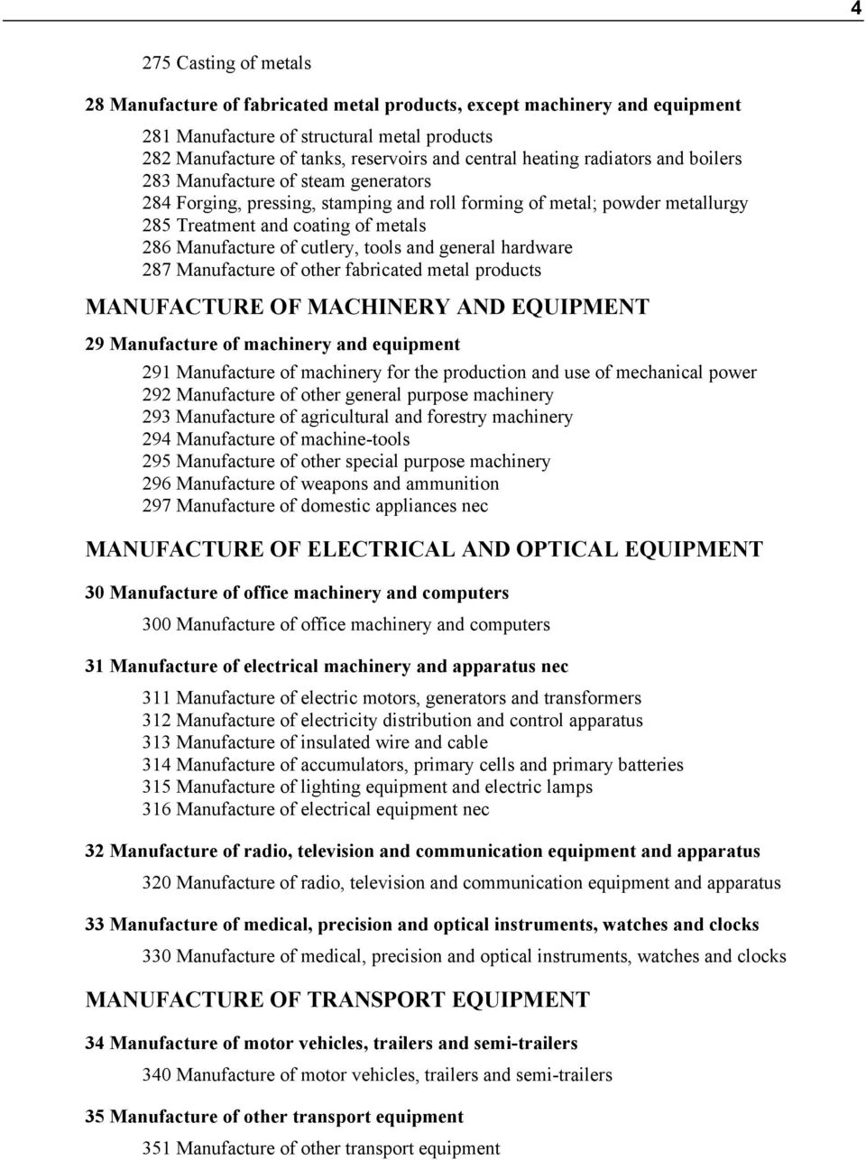cutlery, tools and general hardware 287 Manufacture of other fabricated metal products MANUFACTURE OF MACHINERY AND EQUIPMENT 29 Manufacture of machinery and equipment 291 Manufacture of machinery