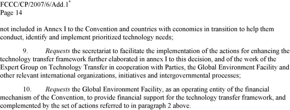 Group on Technology Transfer in cooperation with Parties, the Global Environment Facility and other relevant international organizations, initiatives and intergovernmental processes; 10.