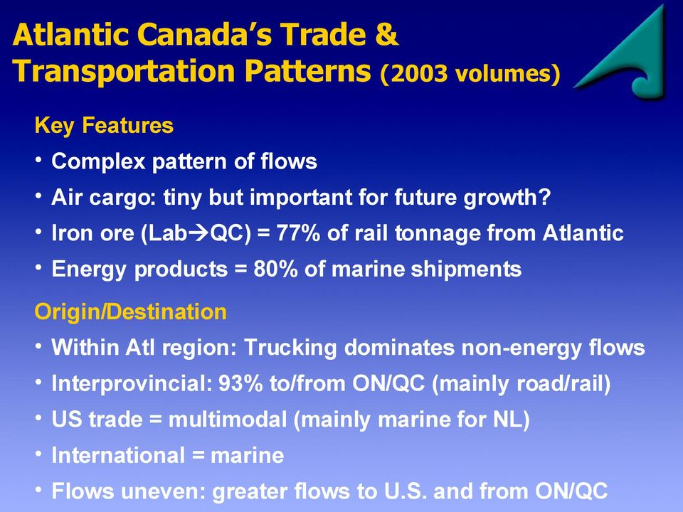 Iron ore (Lab QC) = 77% of rail tonnage from Atlantic Energy products = 80% of marine shipments Origin/Destination Within