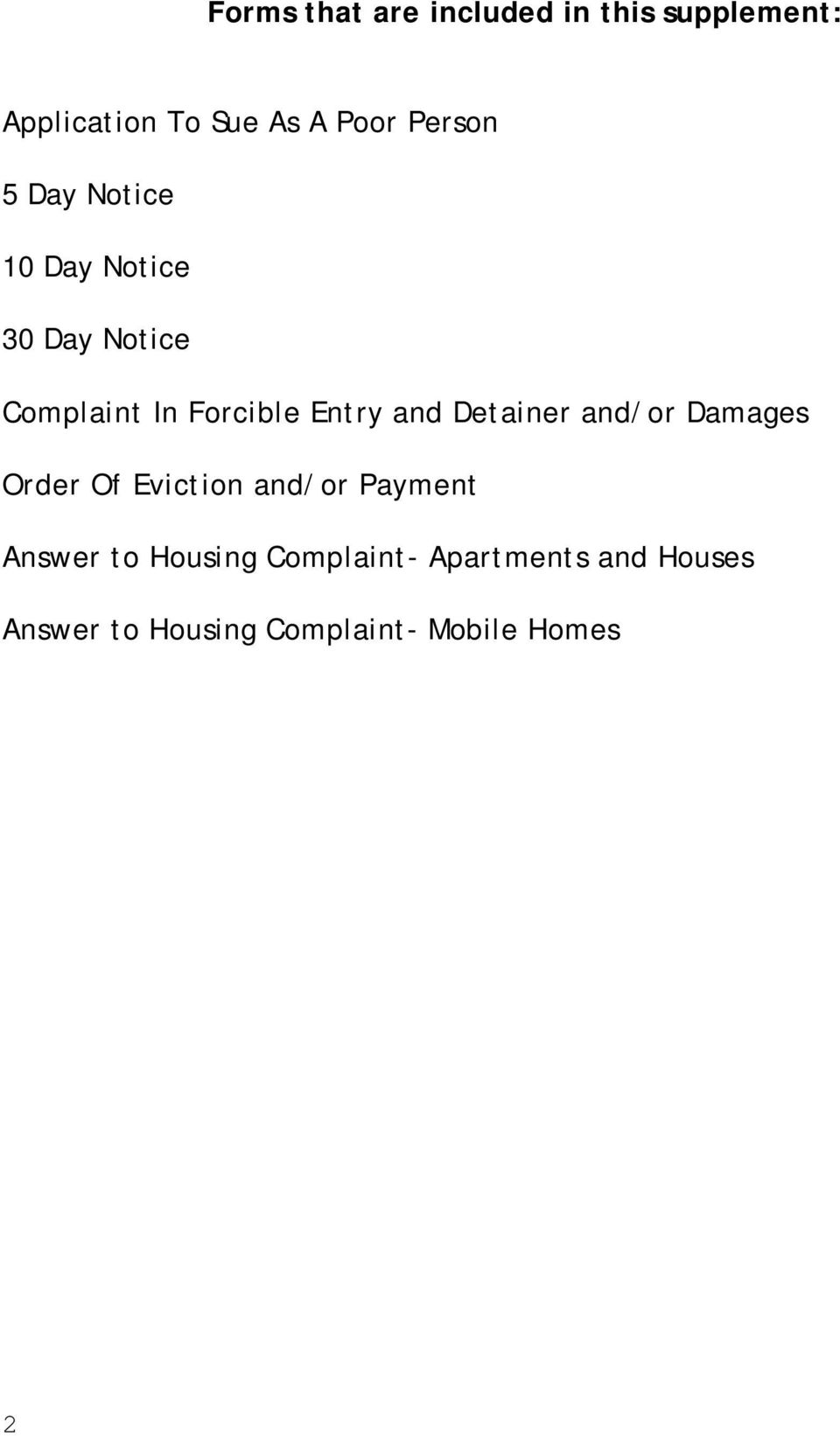 and Detainer and/or Damages Order Of Eviction and/or Payment Answer to