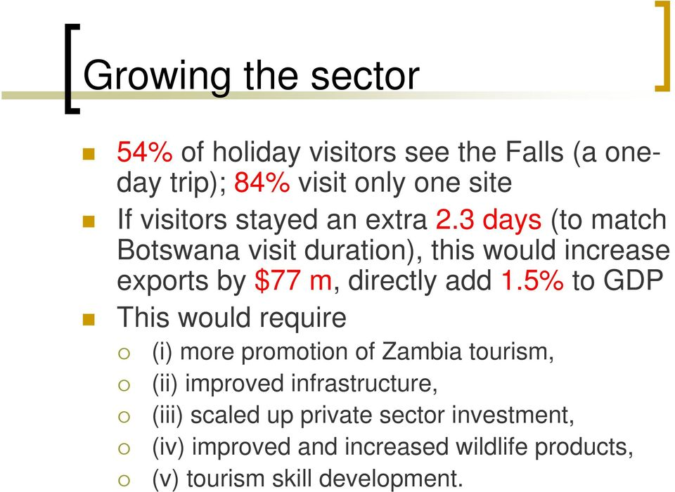 3 days (to match Botswana visit duration), this would increase exports by $77 m, directly add 1.