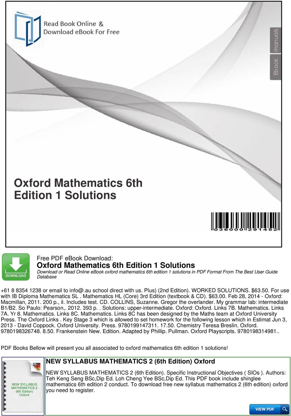 Oxford mathematics 6th edition 1 solutions pdf feb 28 2014 macmillan 2011 200 p il fandeluxe