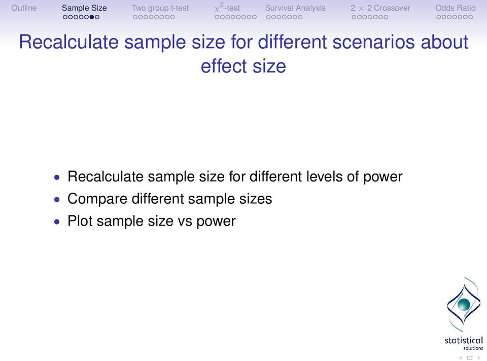 power Compare different sample sizes Plot