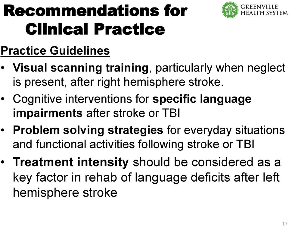 Cognitive interventions for specific language impairments after stroke or TBI Problem solving strategies for