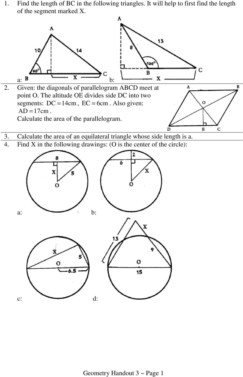 EC = 6cm Also given: AD = 17cm Calculate the area of the parallelogram Calculate the area of an equilateral triangle