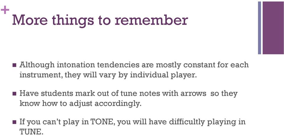 Have students mark out of tune notes with arrows so they know how to