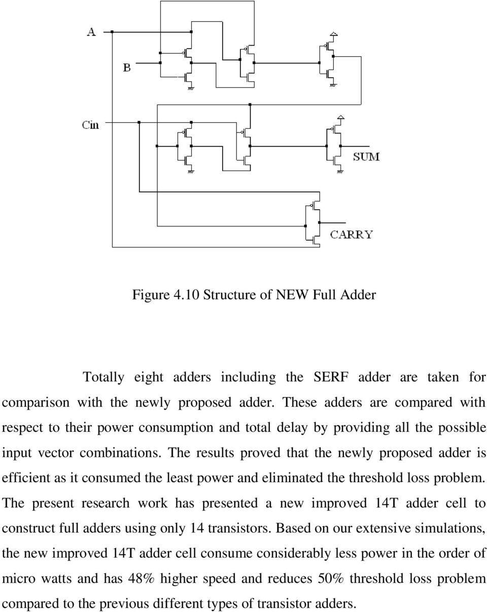 The results proved that the newly proposed adder is efficient as it consumed the least power and eliminated the threshold loss problem.
