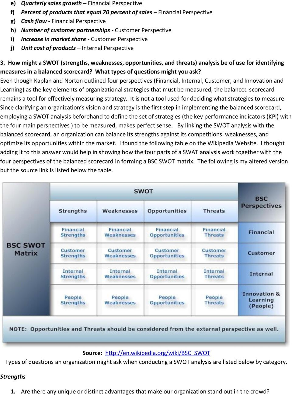 How might a SWOT (strengths, weaknesses, opportunities, and threats) analysis be of use for identifying measures in a balanced scorecard? What types of questions might you ask?