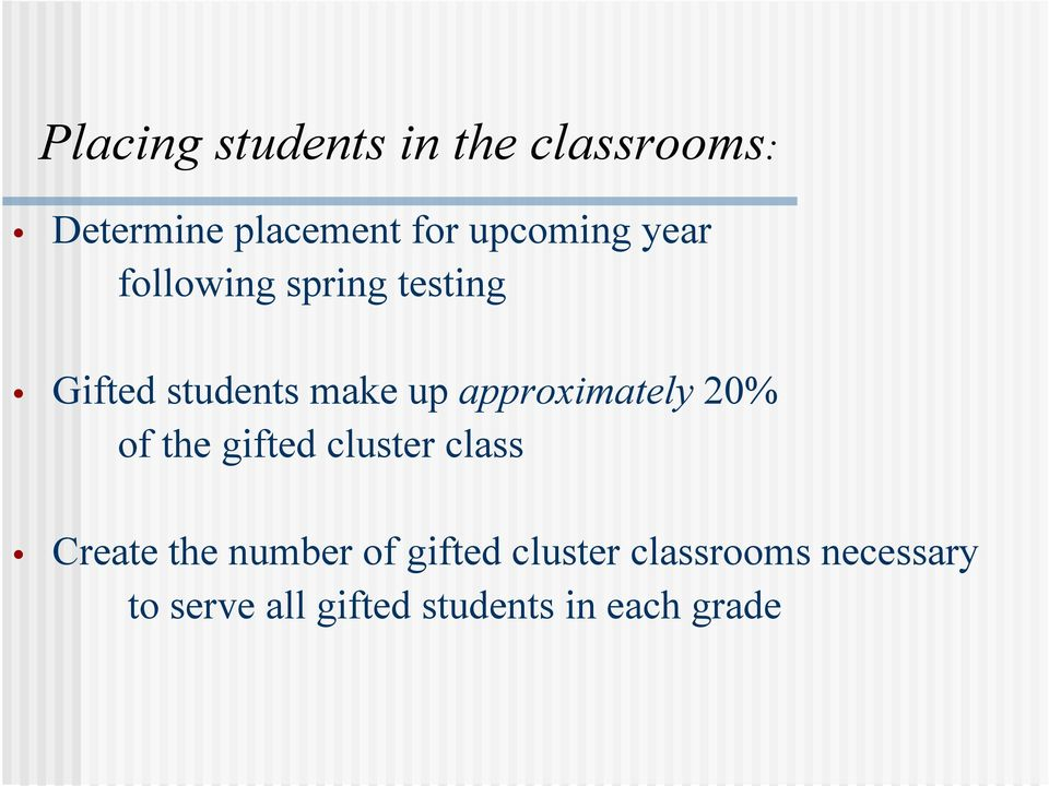 approximately 20% of the gifted cluster class Create the number of