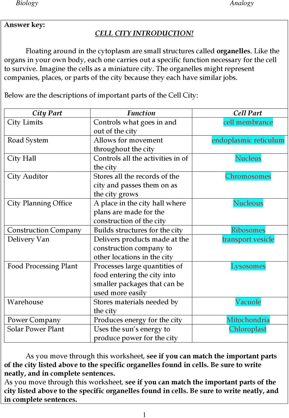 The organelles might represent companies, places, or parts of the city because they each have similar jobs.