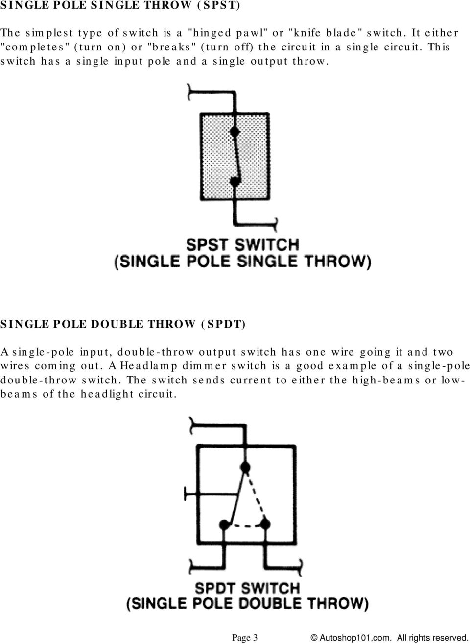 Double Pole Single Throw Switch Wiring