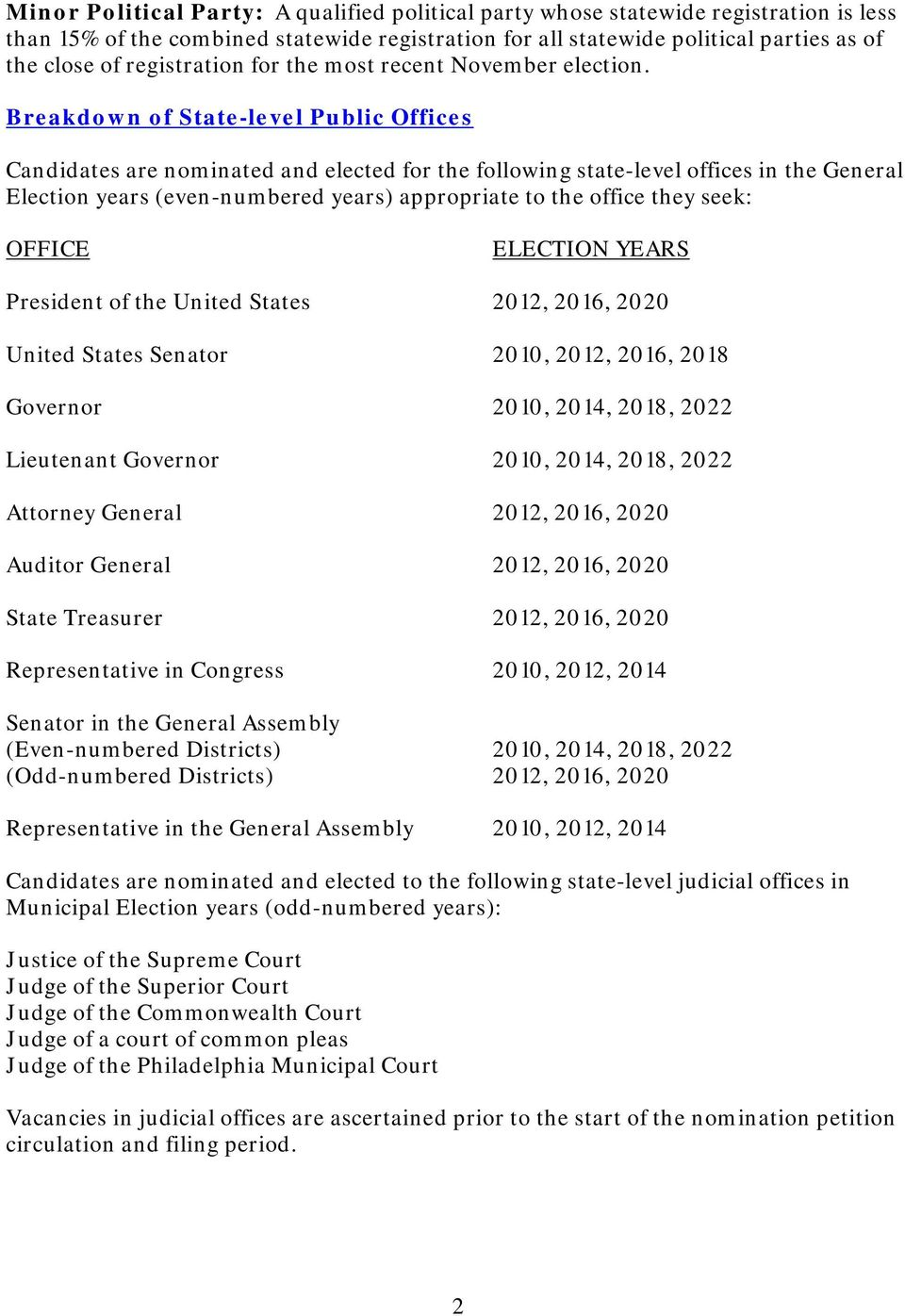Breakdown of State-level Public Offices Candidates are nominated and elected for the following state-level offices in the General Election years (even-numbered years) appropriate to the office they