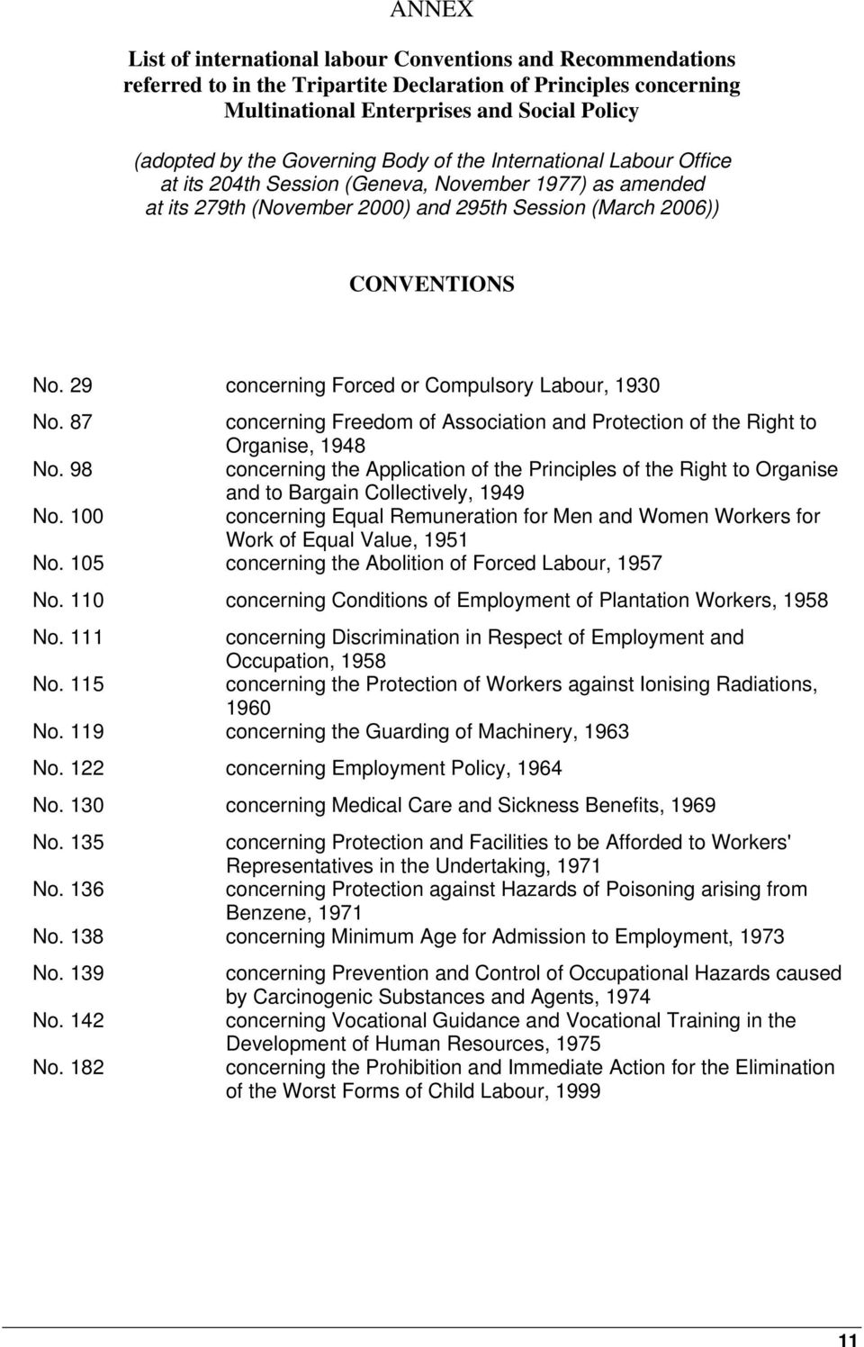 29 concerning Forced or Compulsory Labour, 1930 No. 87 concerning Freedom of Association and Protection of the Right to Organise, 1948 No.