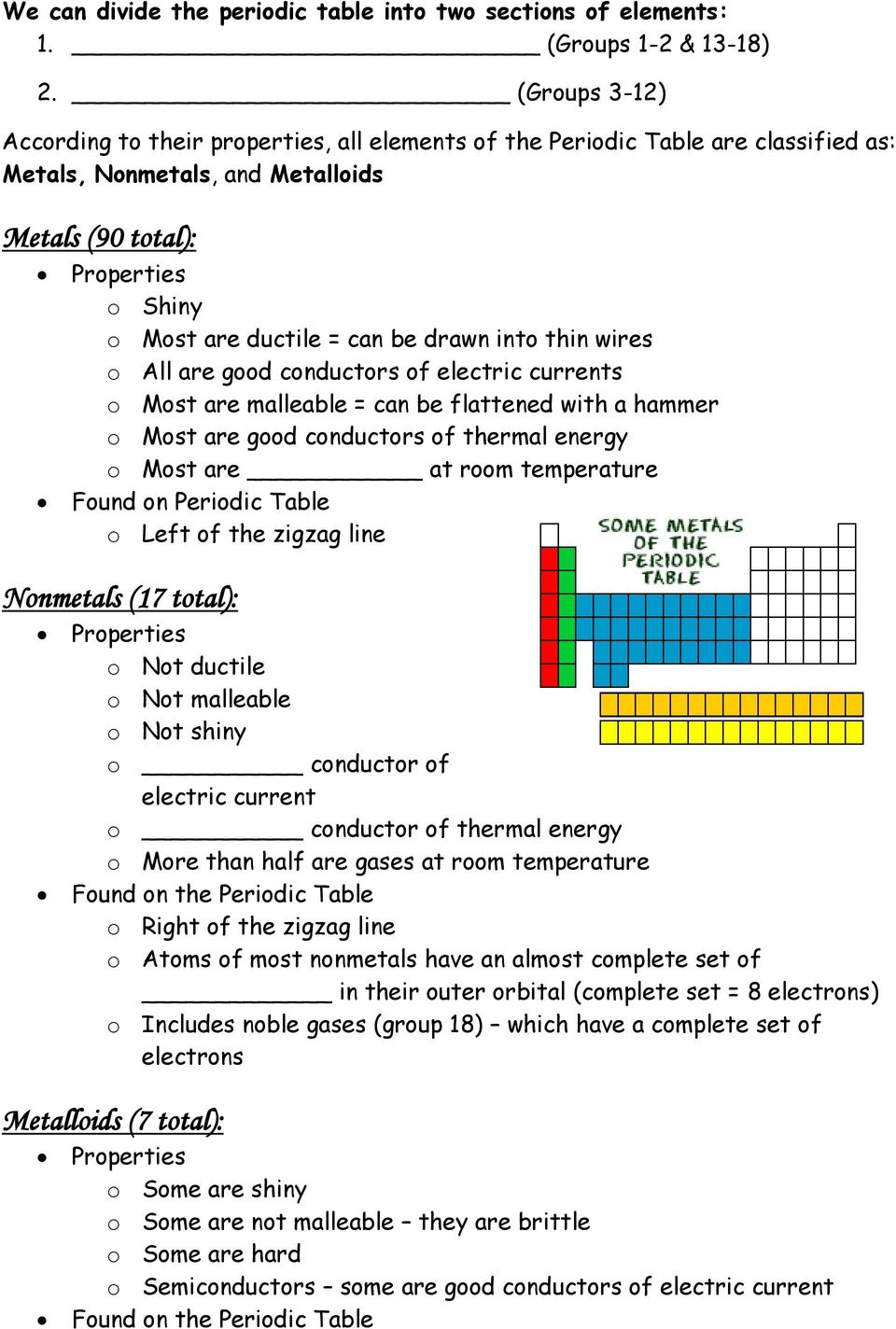 drawn into thin wires o All are good conductors of electric currents o Most are malleable = can be flattened with a hammer o Most are good conductors of thermal energy o Most are at room temperature