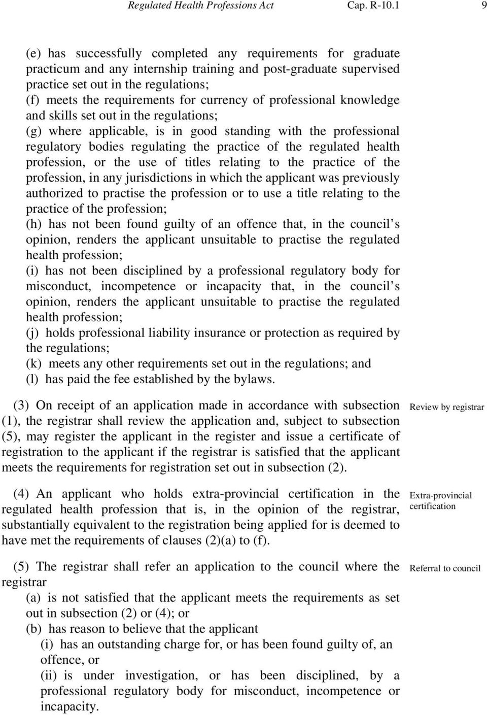 currency of professional knowledge and skills set out in the regulations; (g) where applicable, is in good standing with the professional regulatory bodies regulating the practice of the regulated