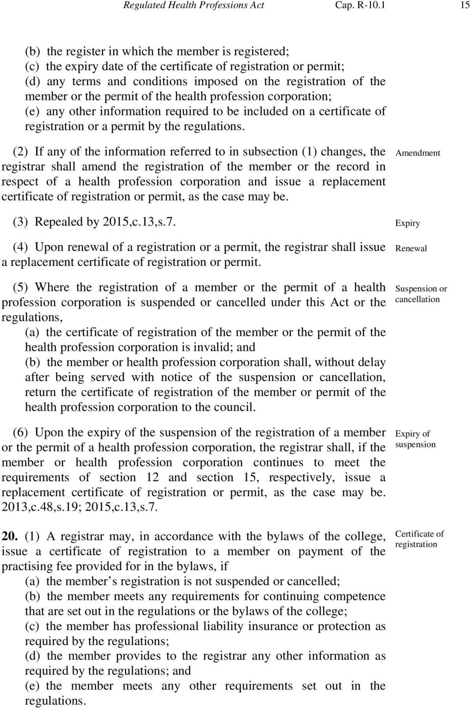the permit of the health profession corporation; (e) any other information required to be included on a certificate of registration or a permit by the regulations.