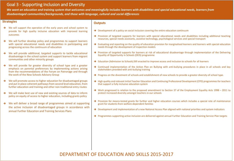 quality inclusive education with improved learning outcomes We will further develop policy and programmes to support learners with special educational needs and disabilities in participating and