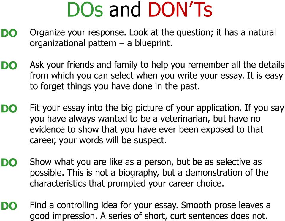 Fit your essay into the big picture of your application.