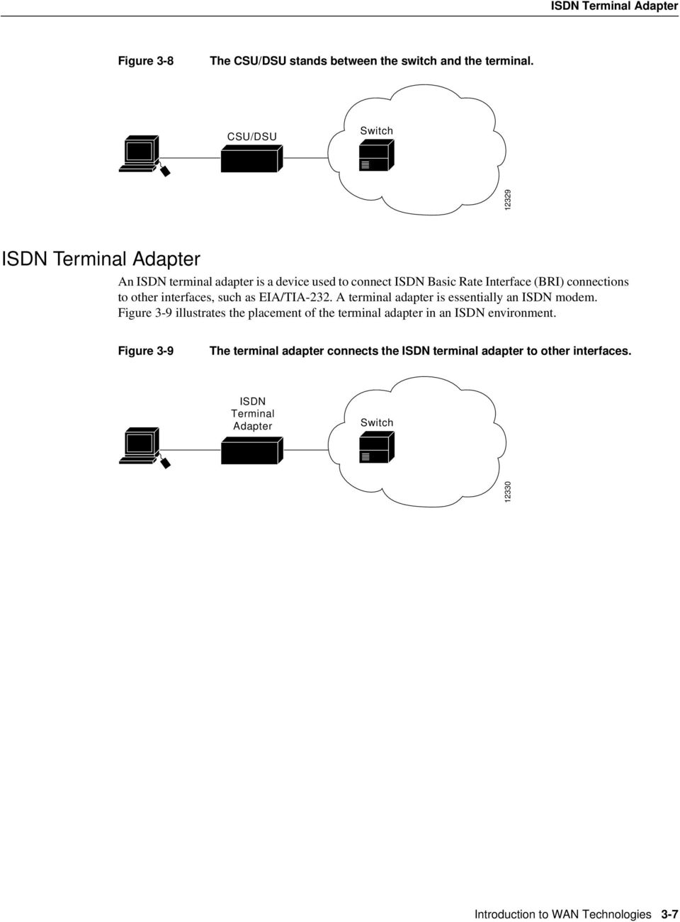 to other interfaces, such as EIA/TIA-232. A terminal adapter is essentially an ISDN modem.