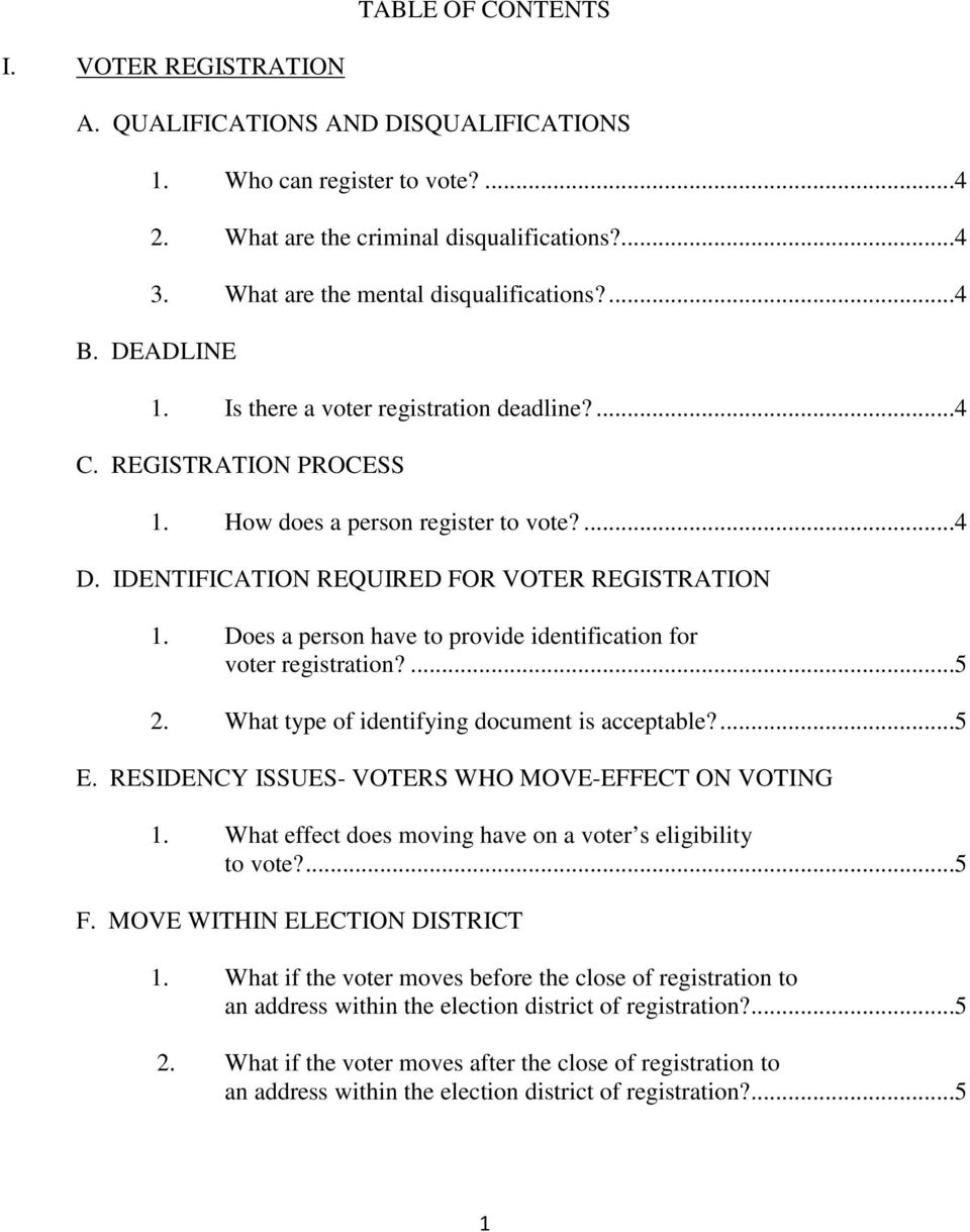 IDENTIFICATION REQUIRED FOR VOTER REGISTRATION 1. Does a person have to provide identification for voter registration?...5 2. What type of identifying document is acceptable?...5 E.