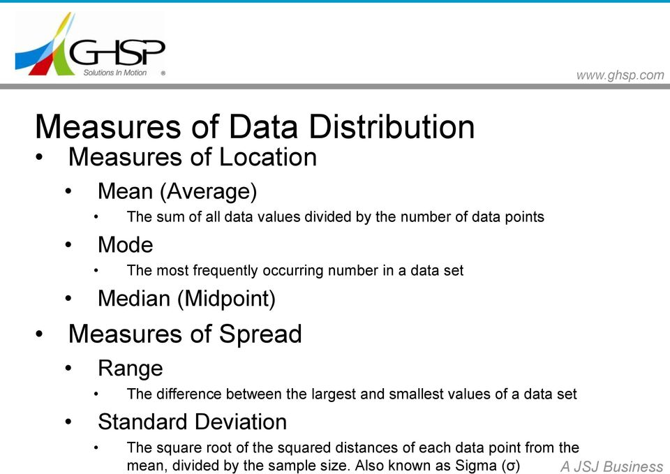 Spread Range The difference between the largest and smallest values of a data set Standard Deviation The