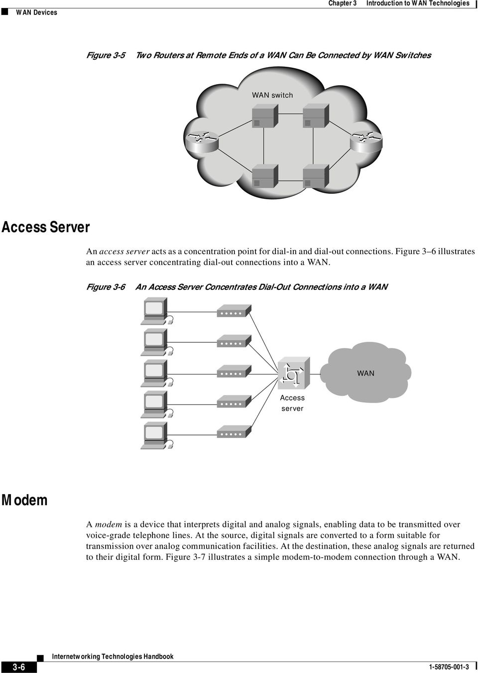 Figure 3-6 An Access Server Concentrates Dial-Out Connections into a WAN WAN Access server Modem A modem is a device that interprets digital and analog signals, enabling data to be transmitted over