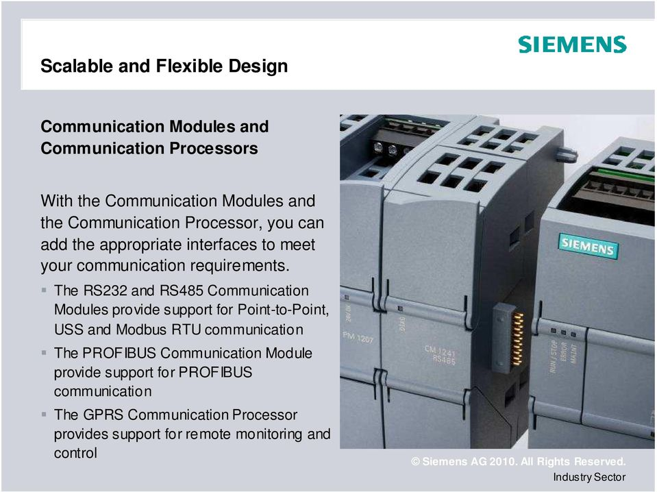 The RS232 and RS485 Communication Modules provide support for Point-to-Point, USS and Modbus RTU communication The PROFIBUS