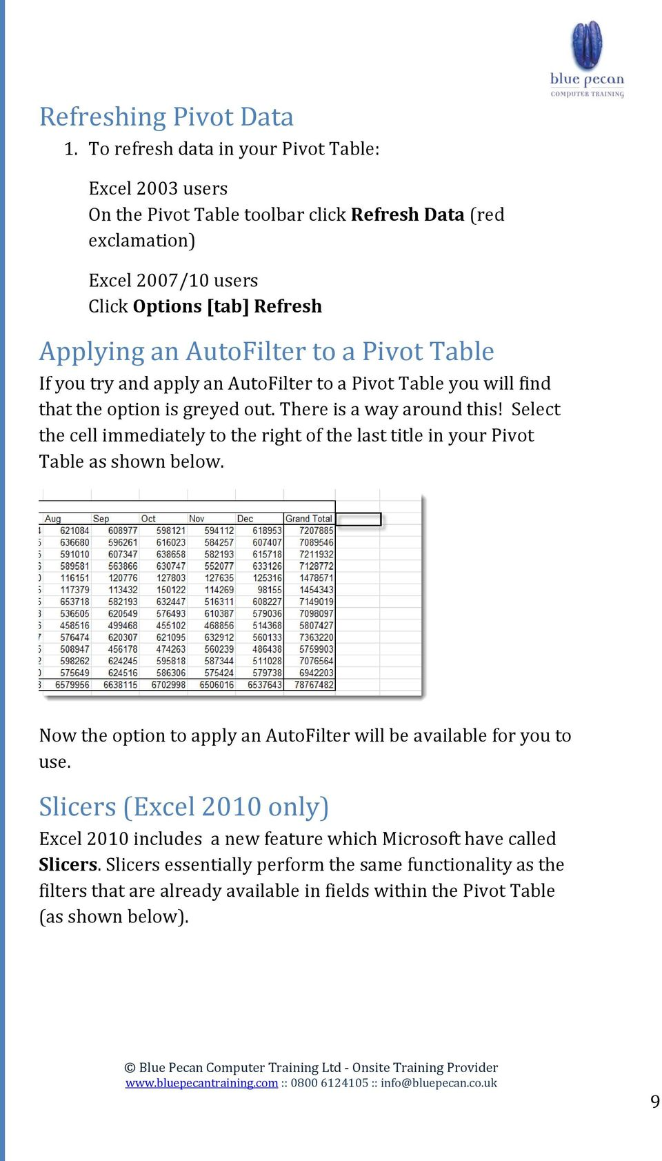 a Pivot Table If you try and apply an AutoFilter to a Pivot Table you will find that the option is greyed out. There is a way around this!