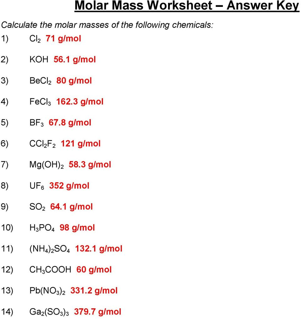Printables Molar Mass Practice Worksheet molar mass homework g mol ccl f mol