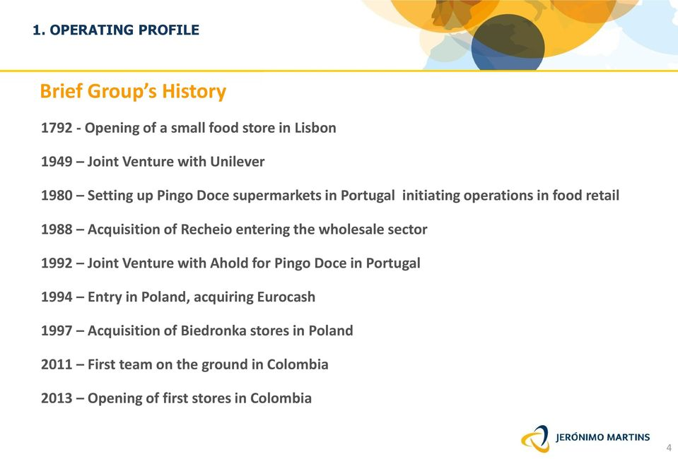 entering the wholesale sector 1992 Joint Venture with Ahold for Pingo Doce in Portugal 1994 Entry in Poland, acquiring