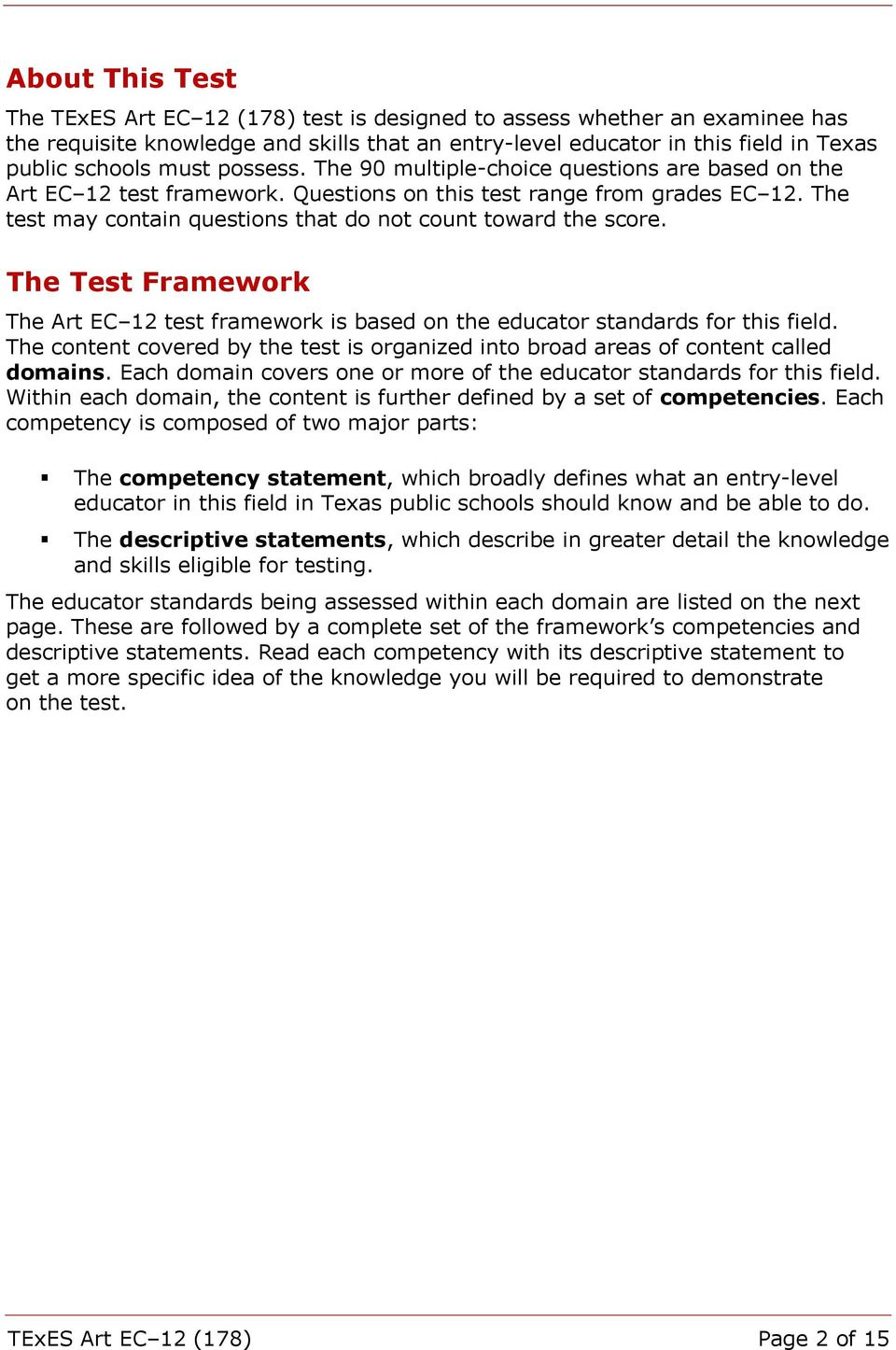 The Test Framework The Art EC 12 test framework is based on the educator standards for this field. The content covered by the test is organized into broad areas of content called domains.