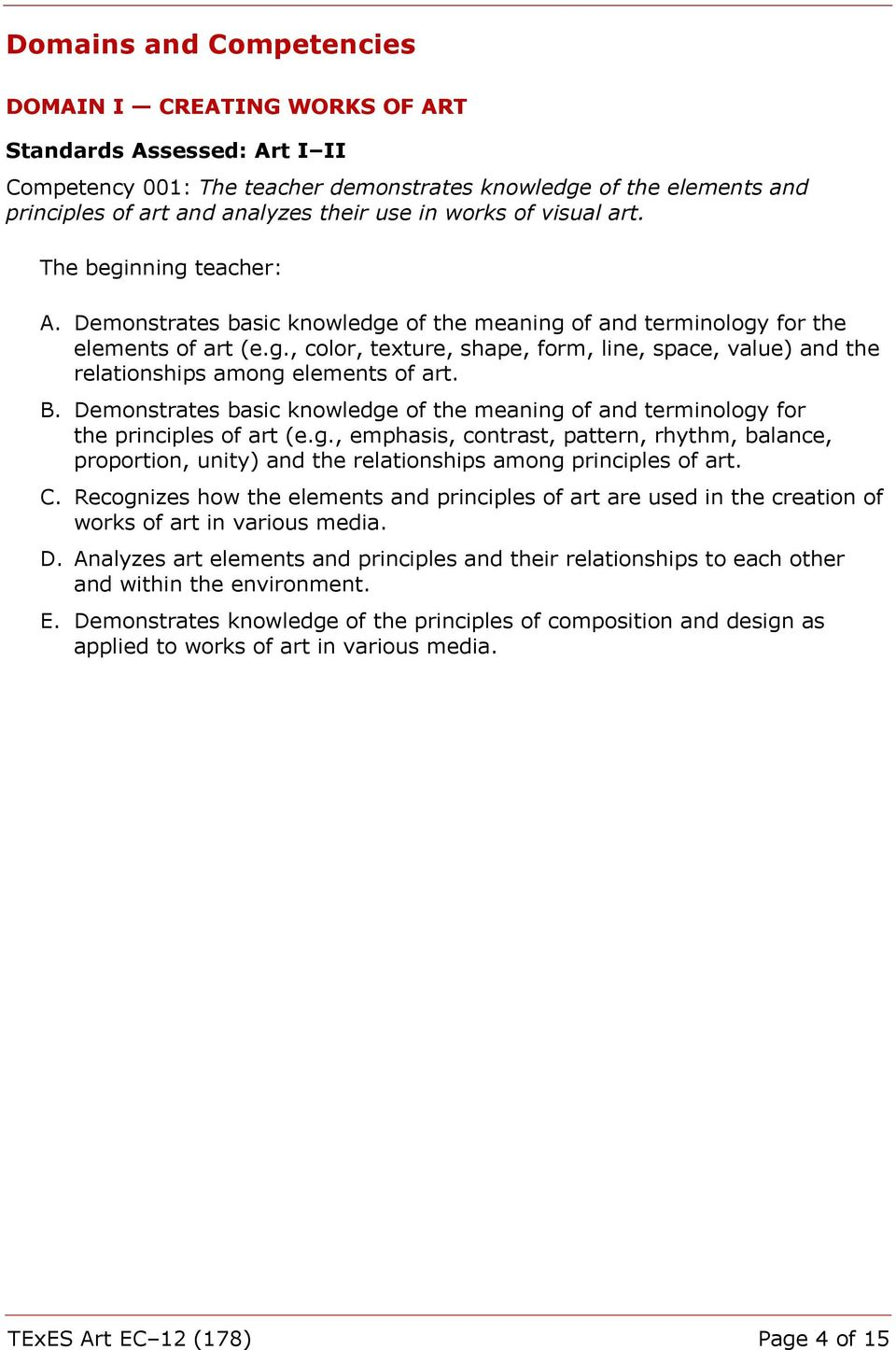 B. Demonstrates basic knowledge of the meaning of and terminology for the principles of art (e.g., emphasis, contrast, pattern, rhythm, balance, proportion, unity) and the relationships among principles of art.