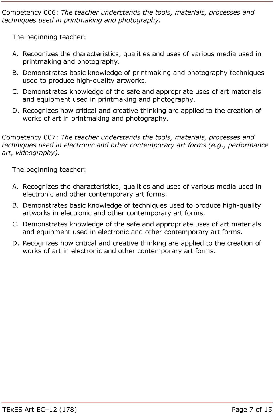 Demonstrates basic knowledge of printmaking and photography techniques used to produce high-quality artworks. C.