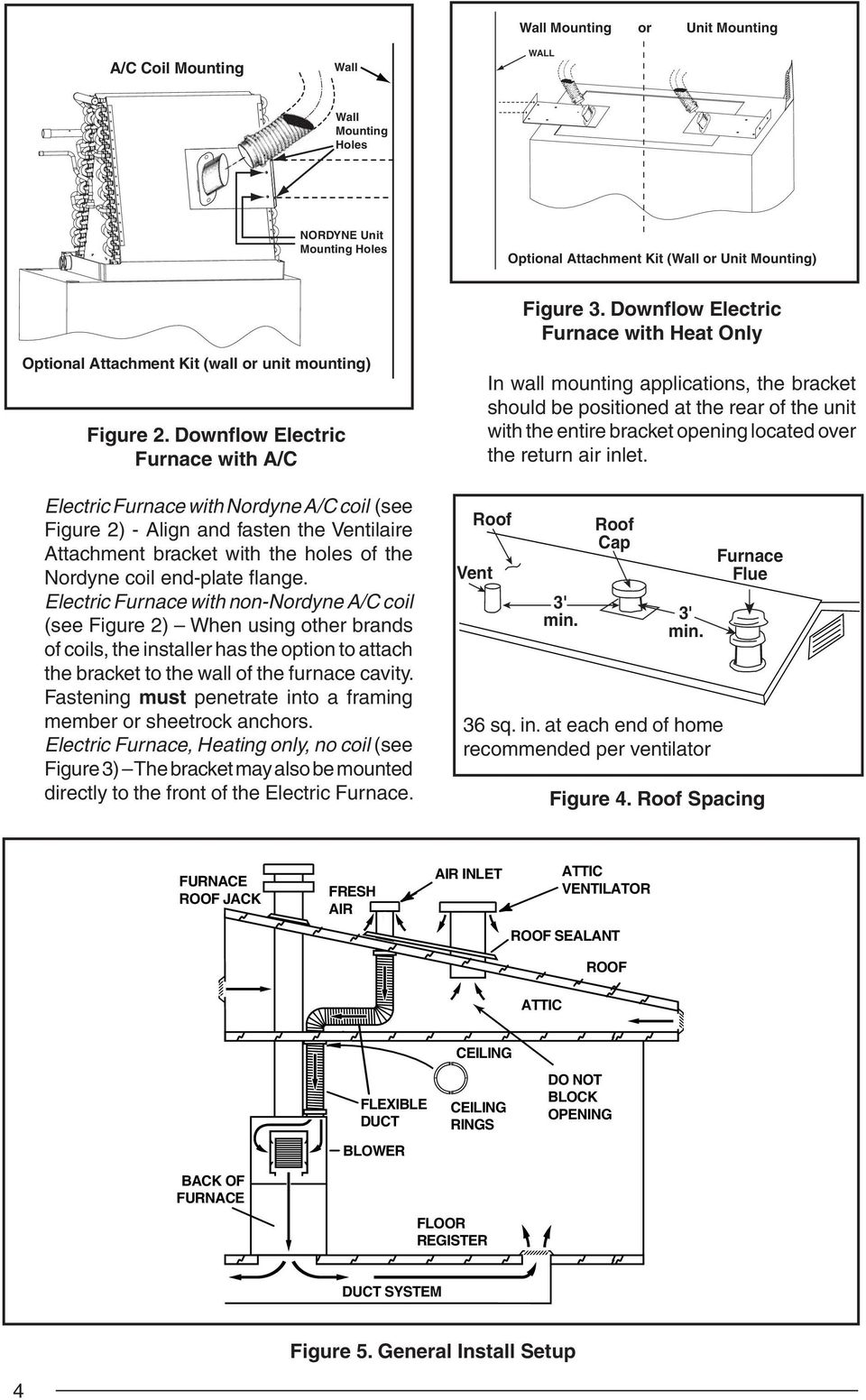 Downflow Electric Furnace with A/C Electric Furnace with Nordyne A/C coil (see Figure 2) - Align and fasten the Ventilaire Attachment bracket with the holes of the Nordyne coil end-plate fl ange.