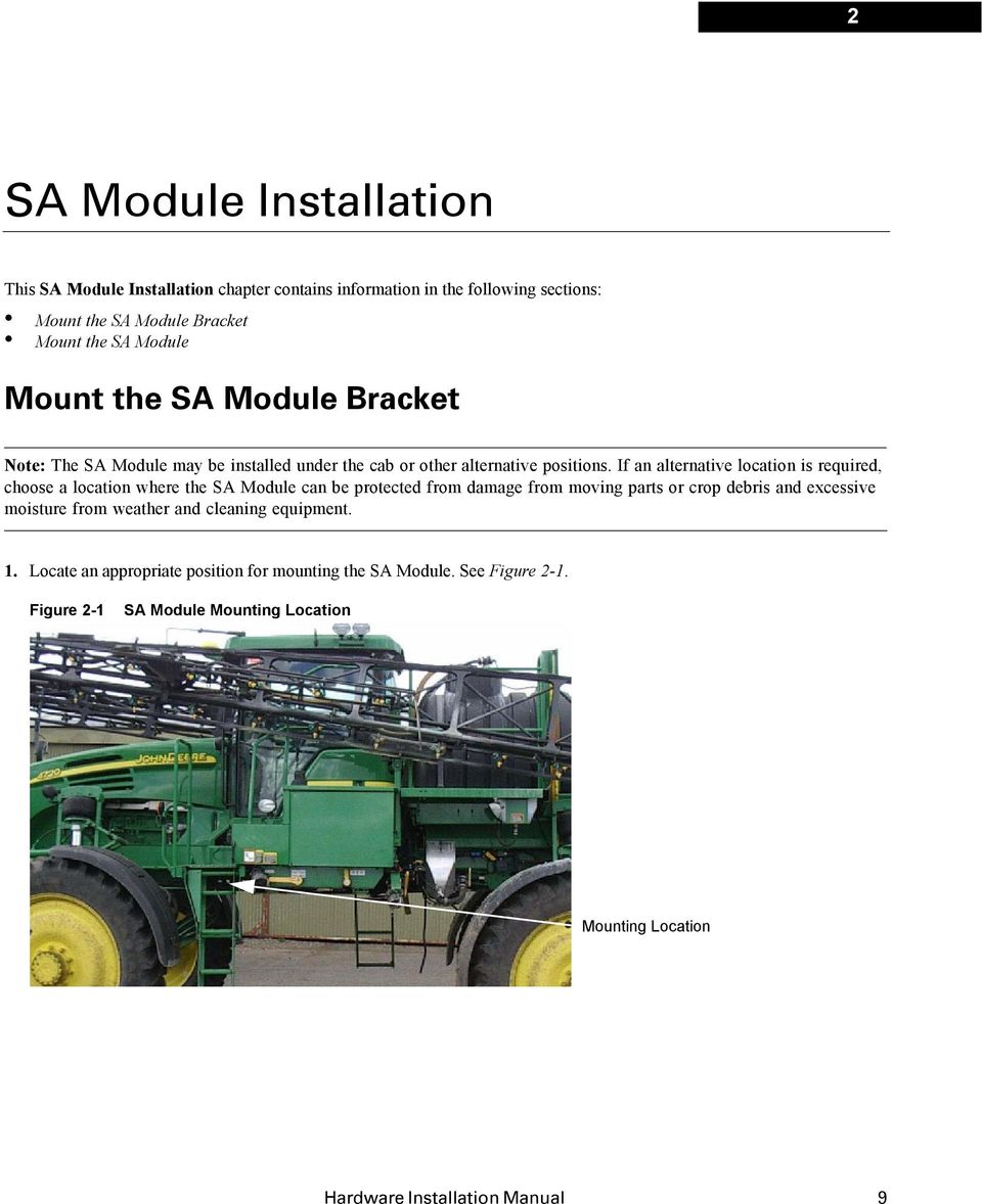 If an alternative location is required, choose a location where the SA Module can be protected from damage from moving parts or crop debris and excessive