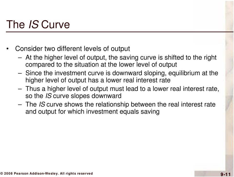 level of output has a lower real interest rate Thus a higher level of output must lead to a lower real interest rate, so the IS