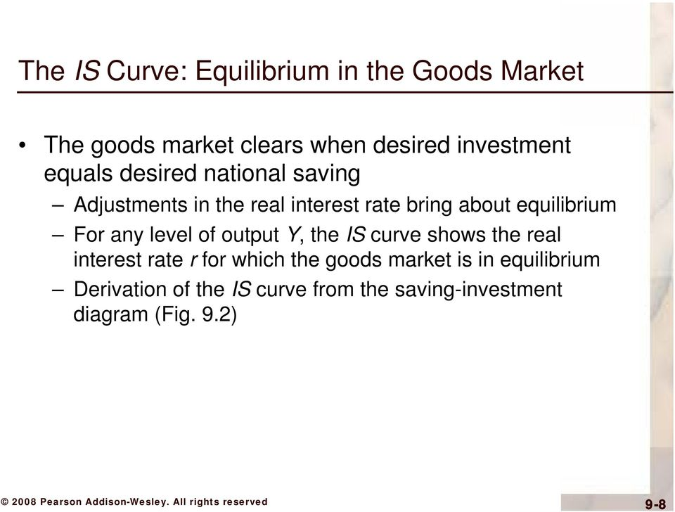 For any level of output Y, the IS curve shows the real interest rate r for which the goods