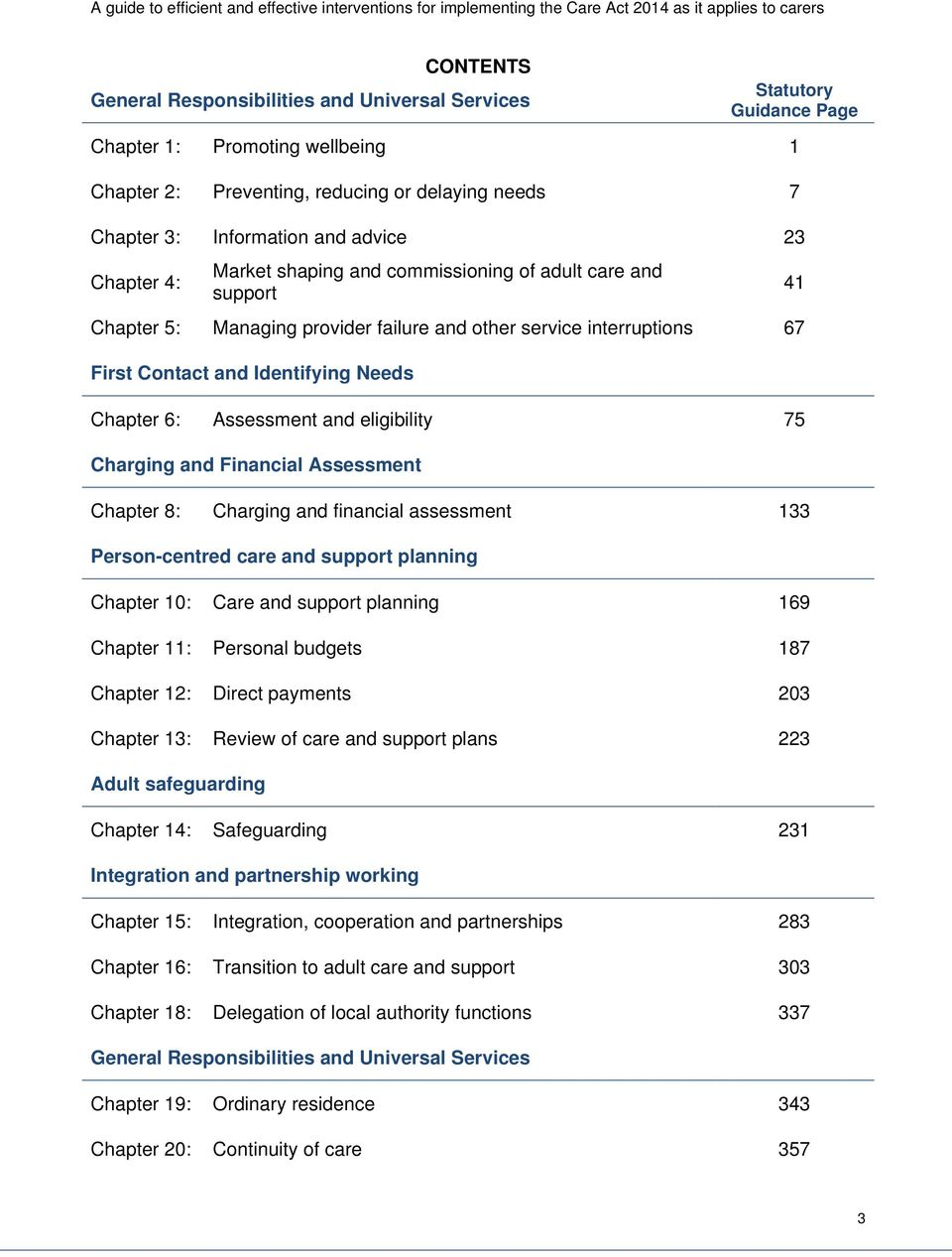 Assessment and eligibility 75 Charging and Financial Assessment Chapter 8: Charging and financial assessment 133 Person-centred care and support planning Chapter 10: Care and support planning 169