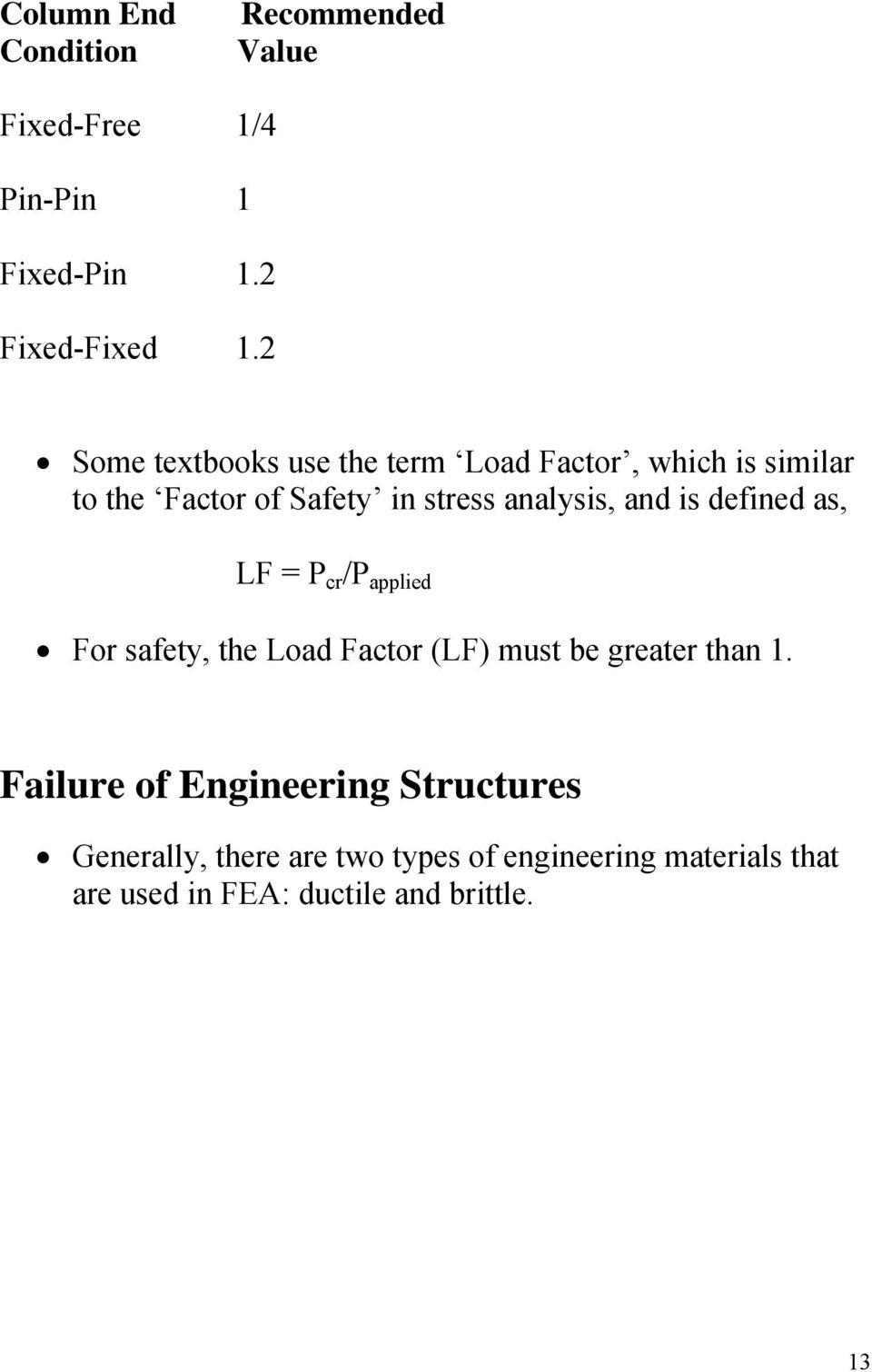 and is defined as, LF = P cr /P applied For safety, the Load Factor (LF) must be greater than 1.