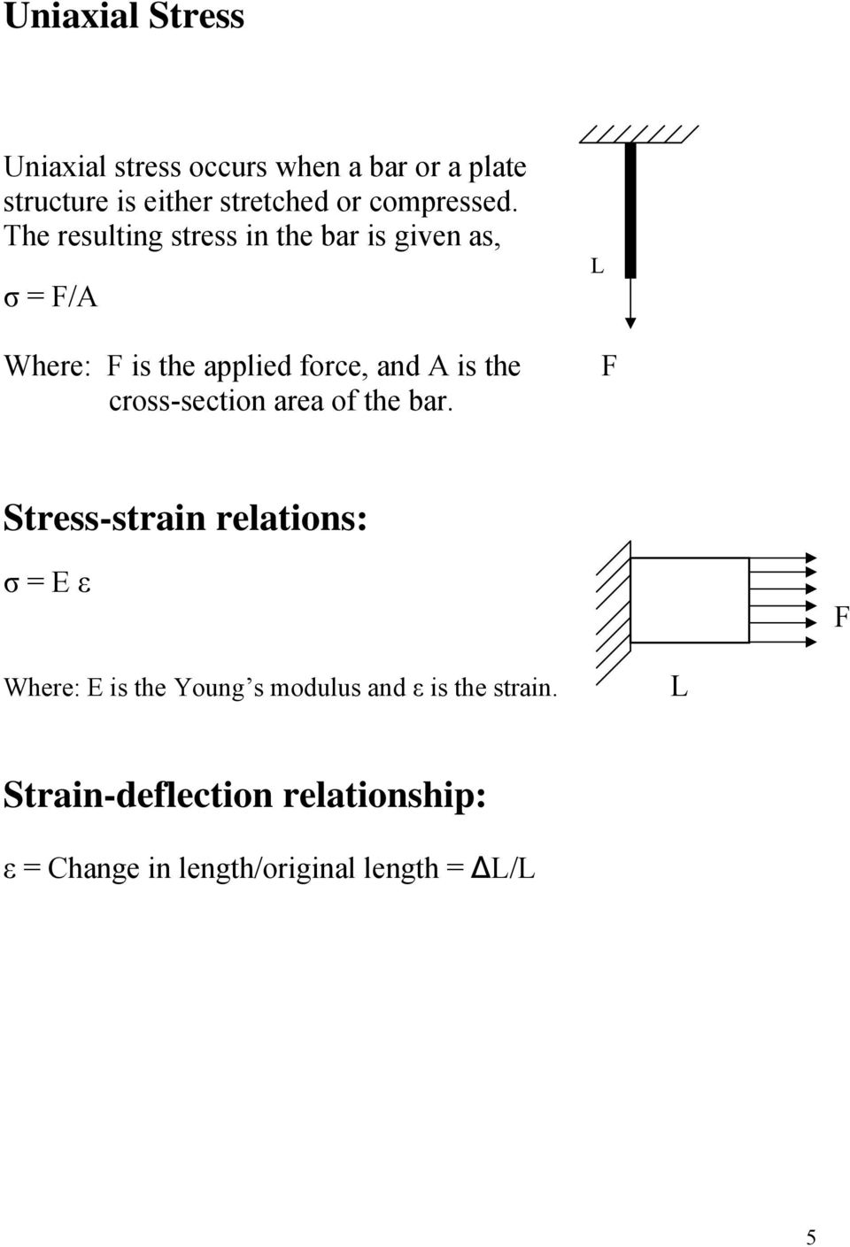 The resulting stress in the bar is given as, σ = F/A Where: F is the applied force, and A is the