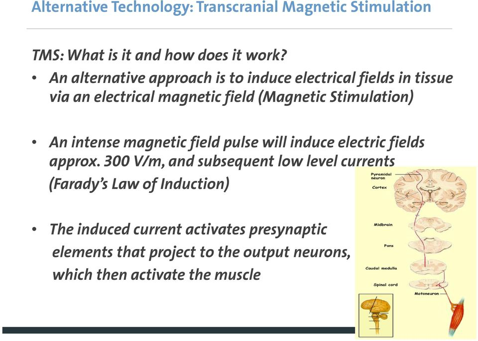 Stimulation) An intense magnetic field pulse will induce electric fields approx.
