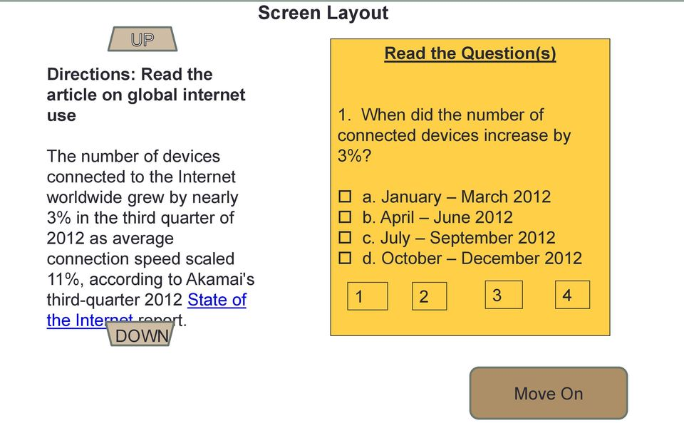 Akamai's third-quarter 2012 State of the Internet report. DOWN Read the Question(s) 1.