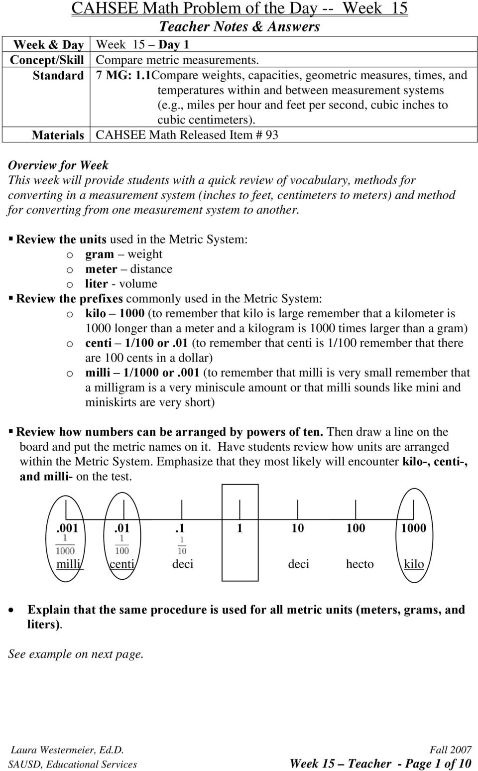 to meters) and method for converting from one measurement system to another.