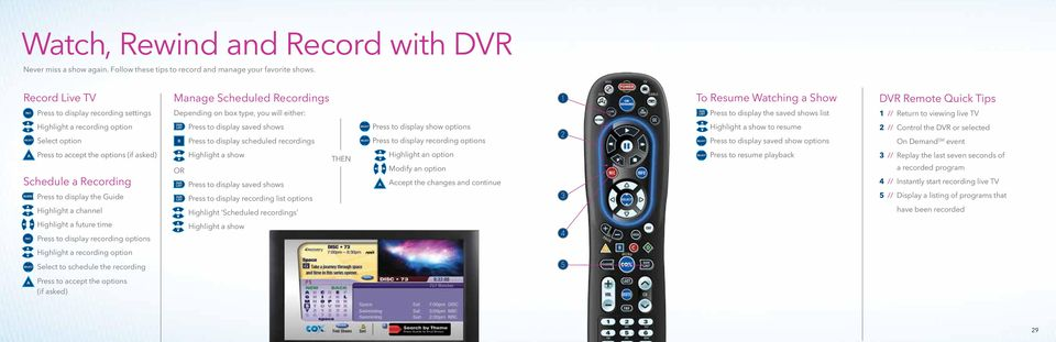 list 1 // Return to viewing live TV Highlight a recording option Press to display saved shows Press to display show options Highlight a show to resume 2 // Control the DVR or selected Select option