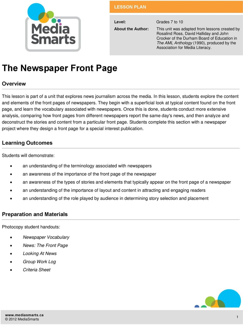 In this lesson, students explore the content and elements of the front pages of newspapers.